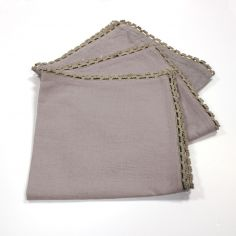 Femina Set of 3 Plain 100% Cotton Table Napkins with Lace Edges - Taupe