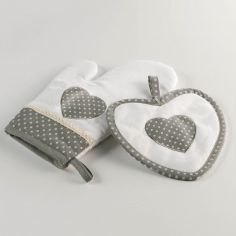Heart Polkadot Set of Kitchen Oven Glove Mitt & Pot Holder - White & Grey