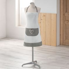 Heart Polkadot Kitchen Apron with Pocket - White & Grey