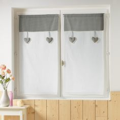Heart Polkadot Pair of Voile Blinds with Slot Top and Lace Top - White & Grey