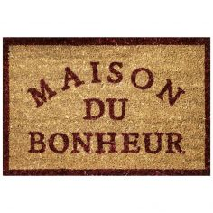 Happiness Rectangular Door Mat  - Natural