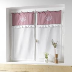 Bonheur Embroidered Pair of Voile Blinds with Ties - White & Pink