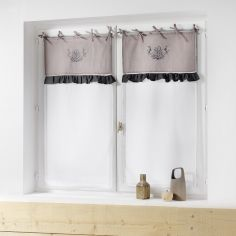 Bonheur Embroidered Pair of Voile Blinds with Ties - Charcoal & Taupe