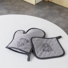 Bonheur Set of Embroidered Oven Glove & Pot Holder - Charcoal & Taupe