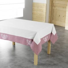 Bonheur Embroidered Tablecloth - White & Pink