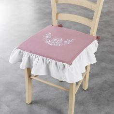 Bonheur Embroidered Chair Seat Pad with Frill - White & Pink