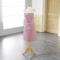 Bonheur Embroidered Apron with Pocket - White & Pink