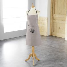 Bonheur Embroidered Apron with Pocket - Charcoal & Taupe