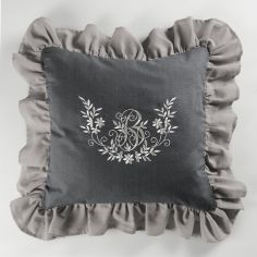 Bonheur Embroidered Square Cushion with Frill - Charcoal & Taupe