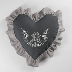 Bonheur Embroidered Heart Shaped Cushion with Frill - Charcoal & Taupe