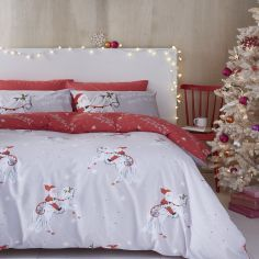 Catherine Lansfield Christmas Unicorn Duvet Cover Set - Grey