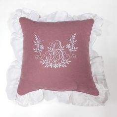 Bonheur Embroidered Square Cushion with Frill - White & Pink
