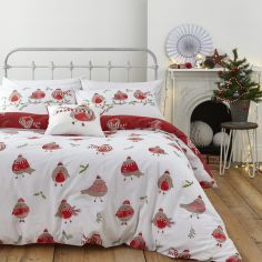 Catherine Lansfield Christmas Robins Duvet Cover Set - Red