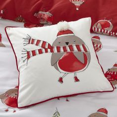Catherine Lansfield Christmas Robins Cushion Cover - Red