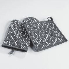 My Sweet Kitchen 100% Cotton Kitchen Glove & Pot Holder - Grey