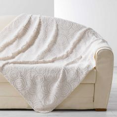 Eloise Embossed Fur Effect Throw - Cream