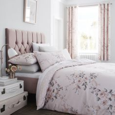 Catherine Lansfield Canterbury Floral Duvet Cover Set - Blush Pink