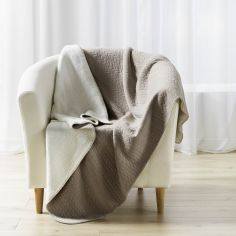Tricoline Jersey Sherpa Throw with Plaid Pattern - Beige