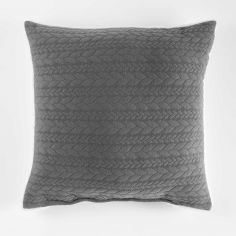 Tricoline Jersey Sherpa Complete Cushion with Plaid Pattern - Grey