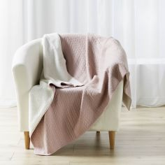 Tricoline Jersey Sherpa Throw with Plaid Pattern - Pink