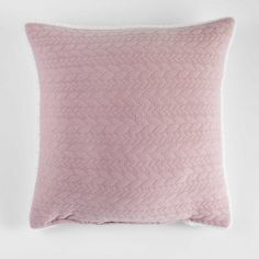 Tricoline Jersey Sherpa Complete Cushion with Plaid Pattern - Pink