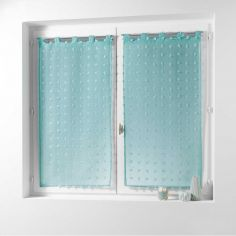 Pomponi Pom Pom Voile Blind Pair with Tab Top - Green