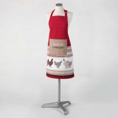 Picoti Chicken Hen 100% Cotton Apron with Pocket - Red