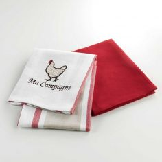 Picoti Set of 2 Embroidered 100% Cotton Kitchen Towels - Red
