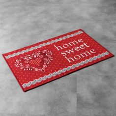 Home Sweet Home Rectangular Door Mat - Red