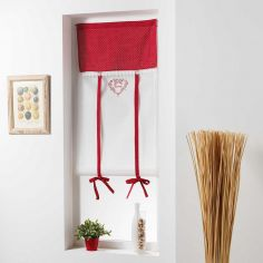 Home Love Embroidered Voile Tie Up Blind with Slot Top - Red