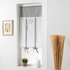 Home Love Embroidered Voile Tie Up Blind with Slot Top - Grey