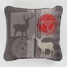 Montana Stag Heart 100% Cotton Complete Cushion - Red & Grey