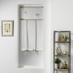 Betty Embroidered Voile Tie Up Blind with Slot Top - White & Beige