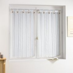 Sienna  Pair of Striped Woven Look Voile Blinds with Tab Top - White Natural