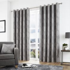 Helsinki Jacquard Fully Lined Eyelet Curtains - Graphite Grey