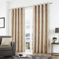Helsinki Jacquard Fully Lined Eyelet Curtains - Natural
