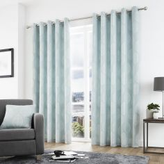 Helsinki Jacquard Fully Lined Eyelet Curtains - Duck Egg Blue
