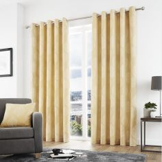 Helsinki Jacquard Fully Lined Eyelet Curtains - Ochre Yellow