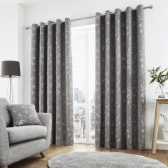 Sagano Jacquard Fully Lined Eyelet Curtains - Graphite Grey