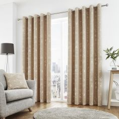 Sagano Jacquard Fully Lined Eyelet Curtains - Natural