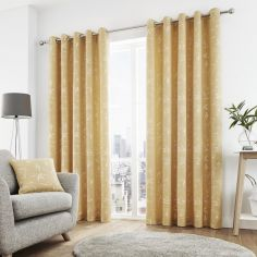 Sagano Jacquard Fully Lined Eyelet Curtains - Ochre Yellow