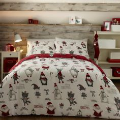Christmas Buddies Duvet Cover Set - Red