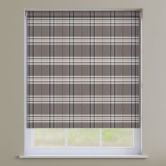 Highland Check Roller Blinds - Natural Earth