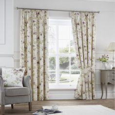 Jeannie Floral Trail Fully Lined Tape Top Curtains - Heather Pink