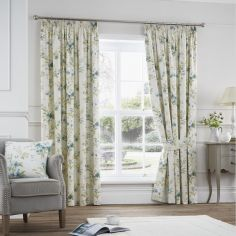 Jeannie Floral Trail Fully Lined Tape Top Curtains - Duck Egg Blue