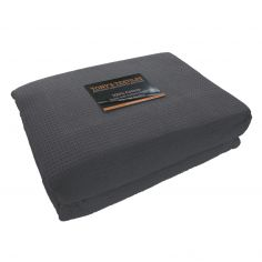 100% Cotton Honeycomb Woven Blanket Throw - Grey