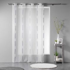 Fougera Embroidered Sable Voile Eyelet Curtain Panel - White Grey