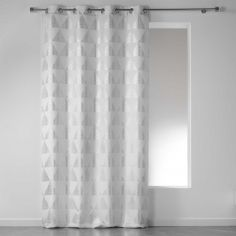 Frosty Geometric Eyelet Unlined Curtain Panel - White