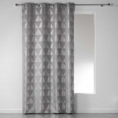 Frosty Geometric Eyelet Unlined Curtain Panel - Silver Grey
