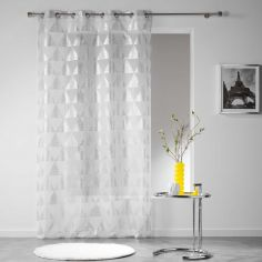 Frosty Geometric Eyelet Voile Curtain Panel - White